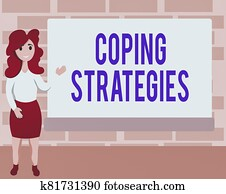 Word writing text Coping Strategies. Business concept for general plan or set of plans intended to achieve something Female Hu analysis Standing Hand Presenting Rectangular Blank Whiteboard.