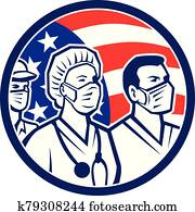 American Healthcare Worker Heroes USA Flag Icon