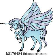 blue unicorn with wings