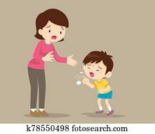 Mother and Sick boy coughing hard