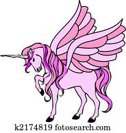 pink unicorn with wings