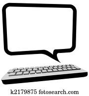 Speech bubble communication copyspace on computer monitor