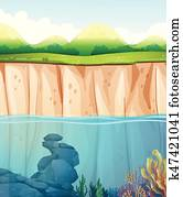 szene, mit, unterwasserwelt, und, felsformation
