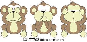 three monkeys saying