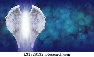 Angel Wings on Blue Banner