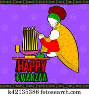 Happy Kwanzaa greetings for celebration of African American holiday festival of harvest