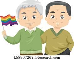 Senior Men Couple Lgbt Flag Illustration
