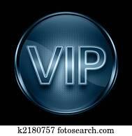 VIP icon dark blue, isolated on black background.