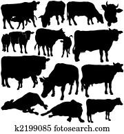 Cow Set Silhouettes