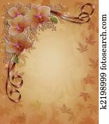 Fall Autumn Orchids Floral Border
