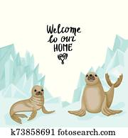 Two fur seals on the background of the glacier. Lettering Welcome to our home. Vector print design