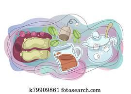 waves organic forms gradient tea set, hot tea, tea pot