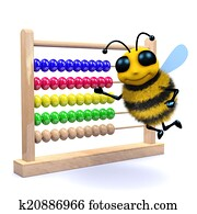 3d Honey bee counts on an abacus