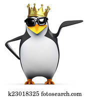 3d King penguin points to his left