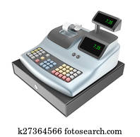 Cash register isolated on white
