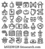 Hanukkah icon set, outline style