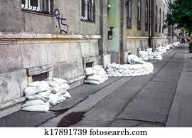 Sandbags at the flood