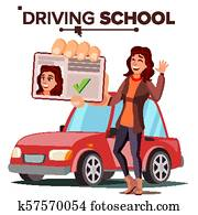 Woman In Driving School Vector. Training Car. Successful Pass Exam. Driving License. Isolated Flat Illustration