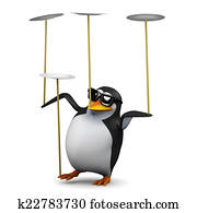 3d Penguin balances plates for fun