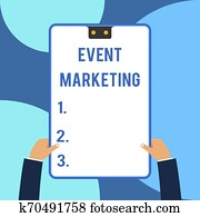Conceptual hand writing showing Event Marketing. Business photo text describes process of developing display to promote product Male hands holding electronic device geometrical background.