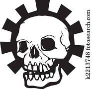 Skull and bones lying in the ground cartoon vector ...