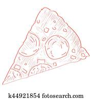 Isolated pizza outline