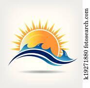 meer sonne, jahreszeit, logo
