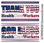 Thank you lettering for healthcare professionals for their efforts against the Covid-19 pandemic
