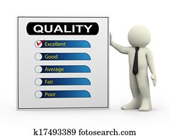 3d businessman with quality survey