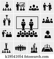 Business conference and presentation icons