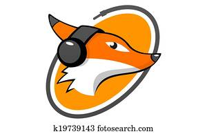 fox head listening music logo
