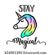 Stay magical cartoon unicorn drawing and lettering