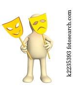 3d puppet with two masks in hands