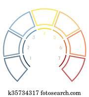 Archivio Illustrazioni Infographics Semicerchio Per Cinque