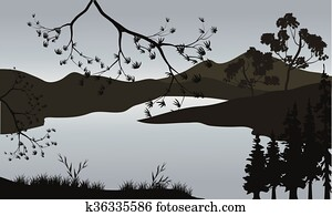Silhouette of lake and mountain