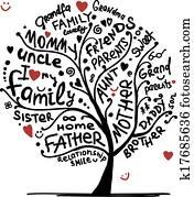 ahnenbaum, skizze, für, dein, design