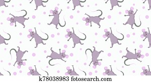 Christmas pattern. YEAR OF RAT. The mice are cute funny. CHILDREN'S TEXTILES. SYMBOL OF THE YEAR. 2020..