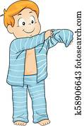 Kid Boy Wear Pajamas Illustration
