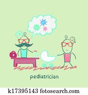 pediatrician at work listening to her mother with a baby in a stroller