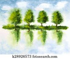 trees with reflections in lake water. watercolor vector illustration