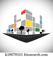vector icon - commercial office high-rise building of city skyline. This graphic can also represent urban commercial structures, hotels, super centers, banks, skylines, skyscrapers, etc
