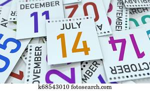 Calendar page shows July 14 date, 3D rendering