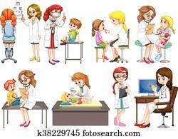 doktoren, und, patient, an, klinik