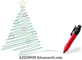 Ink pen drawing writing Merry Christmas tree decorations
