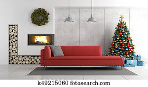 Modern living room with fireplace and christmas tree