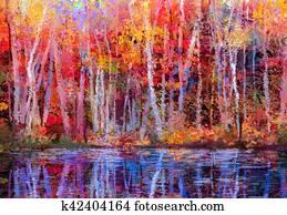 Oil painting landscape - colorful autumn trees
