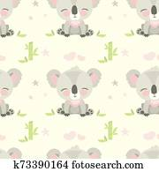 Seamless pattern with cute koala bear
