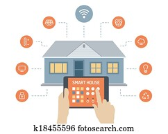 Smart house flat illustration concept