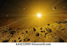 3d shining explosion and scattered rocks in the outer space