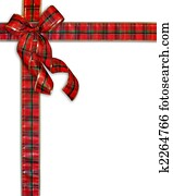 Christmas Present Plaid Bow Background